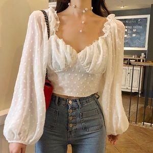 white babydoll blouse